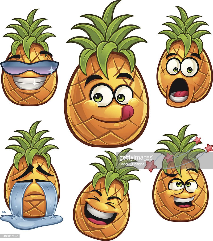 Pineapple Cartoon Set A Vector Art | Getty Images
