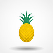 Pineapple icon for t-shirt print and other uses. Trendy Tropical Element. Vector Graphics. Isolated.