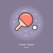 Ping pong, flat design thin line banner, usage for e-mail newsletters, web banners, headers, blog posts, print and more