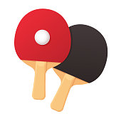 Two realistic ping pong rackets with ball. Table tennis equipment vector illustration.