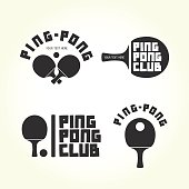 Ping pong club isolated vector logotypes set