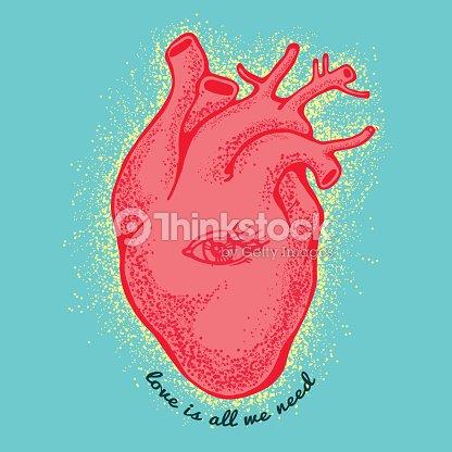 Rosa Corazón Anatómico Con El Ojo En Fondo Azul Lema El Amor Es Todo ...