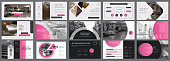 Pink and black economics or concept infographics set. Business elements for presentation slide templates. Can be used for annual report, advertising, flyer layout and banner.
