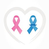 Breast and prostate cancer awareness ribbons. Pink and blue ribbon on heart shape stroke. Vector.
