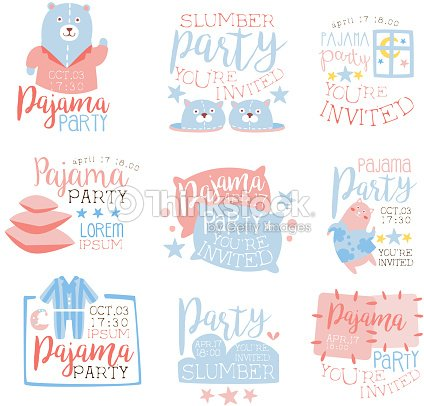 pink and blue girly pajama party invitation templates vector art