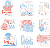 Pink And Blue Girly Pajama Party Invitation Templates Set Inviting Kids For The Slumber Pyjama Overnight Sleepover Cards. Collection Of Stencils For The Welcome Postcards With Night And Bed Symbols In