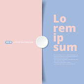 Pink and Blue pastel paper overlap covered with white circle stickers. vector illustration background with copy space
