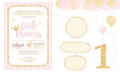 Birthday party and girl baby shower design elements set. Glitter texture. Golden gloss effect