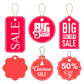 Pink and Red Sale Tags in Different Forms with One Blank Label Isolated on White. Vector Illustration.