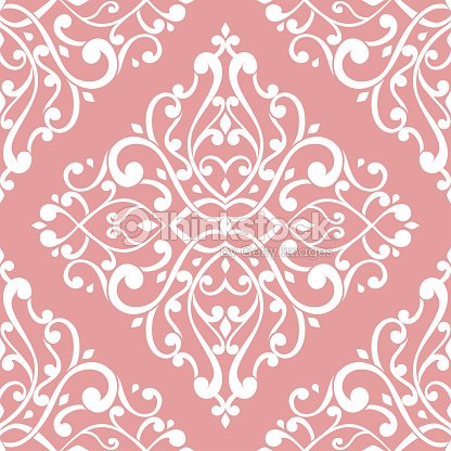 Pink and white vintage vector seamless pattern, wallpaper. Elegant classic texture. Luxury ornament. Royal, Victorian, Baroque elements.