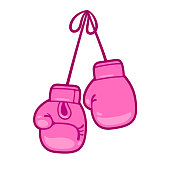 Girly pink boxing gloves vector illustration. Pair of cute cartoon gloves hanging.