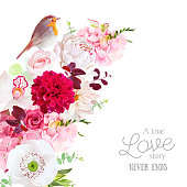 Floral vector frame with peony, orchid, hydrangea, rose, white poppy, dahlia, eucalyptus and small robin bird.Pink, burgundy red and white spring wedding flowers.All elements are isolated and editable
