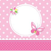 illustration of a butterfly, colorful flower, round label and ribbon on pink polka dot pattern background