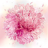 Modern floral art - Pink Asters and Chrysanthemums. Flower vector composition for wedding decoration, Valentine's Day,  Mother's Day, sales and other events