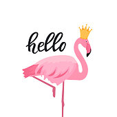 Pink flamingo in a golden crown. Hello hand drawn lettering.