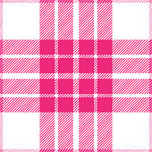 Pink and white girly seamless tartan plaid pattern design.