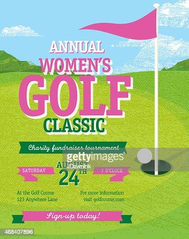 Golf Tournament Invitation Flyer With Female Golfer Vector Art