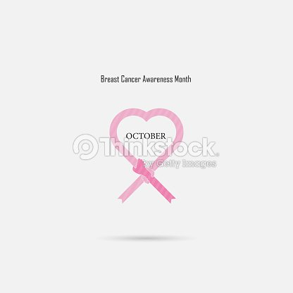 Pink Heart Ribbon Signbreast Cancer October Awareness Month Campaign