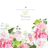 Pink and green hydrangea, rose, white peony, orchid, carnation vector design card. Botanical style frame with mixed flowers on white. Elegant floral background. All elements are isolated and editable.