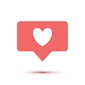 Pink Like icon with heart isolated on white background. Vector Social media like symbol. Notification heart sign
