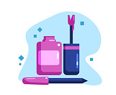Nail polish and nail file. Set for a pedicure and manicure. Flat Vector Illustration