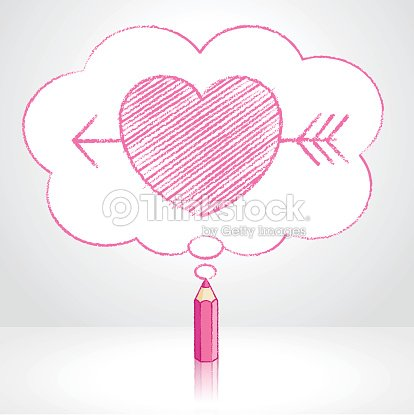 pink pencil drawing arrow through heart in thought cloud bubble