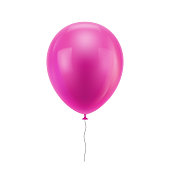 Pink realistic balloon. Pink inflatable ball realistic isolated white background. Balloon in the form of a vector illustration