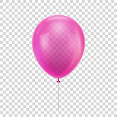 Pink realistic balloon. Blue ball isolated on a transparent background for designers and illustrators. Balloon as a vector illustration
