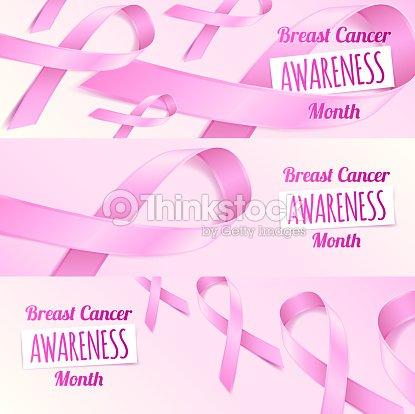 Pink Ribbon Breast Cancer Awareness Symbols Banners Set Vector Art