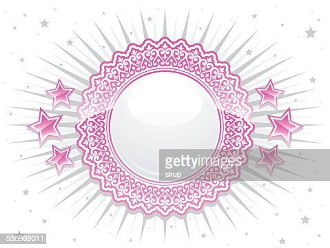 pink shiny lace crest with bolts and stars : Vector Art