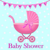 Pink Stroller with a bow for baby girl. Baby Shower invitation with flags and stroller. Baby carriage in realistic style.