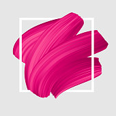 Pink vector lipstick smear. Female girly symbol. Paint brush stroke in frame, banner template.