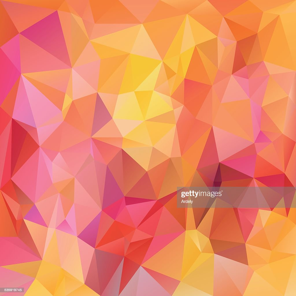 pink yellow orange polygonal triangular pattern background : Vector Art