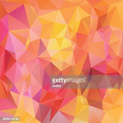 pink yellow orange polygonal triangular pattern background : Vector Art