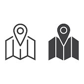 Pinpoint on map line and glyph icon, geolocation and navigation, gps sign vector graphics, a linear pattern on a white background, eps 10.