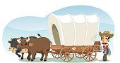 Pioneer with animal drawn wagon, vector illustration cartoon.