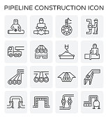 Vector line icon of pipeline construction industry isolated on white background.