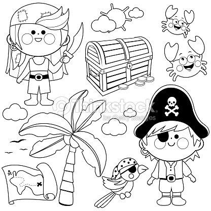 Niños Piratas Vector Conjunto Blanco Y Negro Para Colorear Página ...