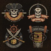 Pirate emblem with skulls and grunge texture. Logos, text, background and grunge texture on separate layers.