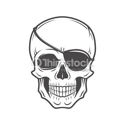 Pirate Evil Skull Vector Jolly Roger With Eyepatch Template