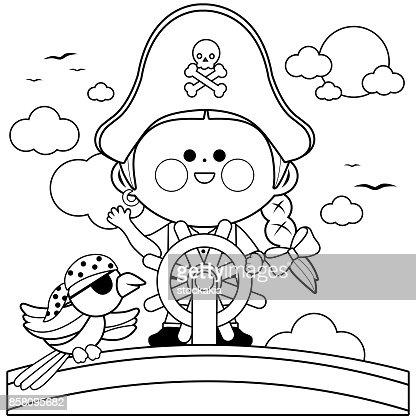 Capitaine Pirate Fille Voile Sur Bateau Avec Volant Noir Et Blanc