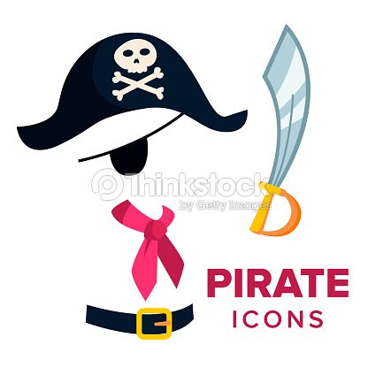 0b78aa73 Pirate Icons Vector. Accessories Hat, Sword. Isolated Flat Cartoon  Illustration