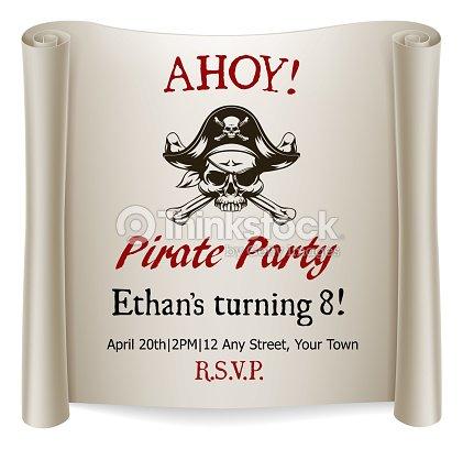 pirate kids birthday party invite template vector art thinkstock