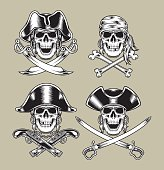 fully editable vector illustration of pirate skulls, image suitable for insignia, emblem, patch, badge, tattoo, design element or graphic t-shirt