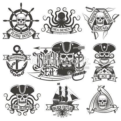pirate tatouage ensemble clipart vectoriel thinkstock. Black Bedroom Furniture Sets. Home Design Ideas