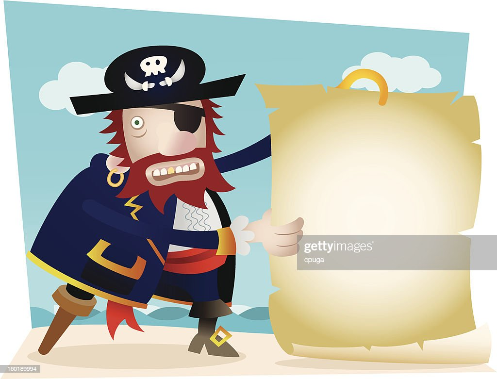 Pirate with Blank Map : Arte vectorial