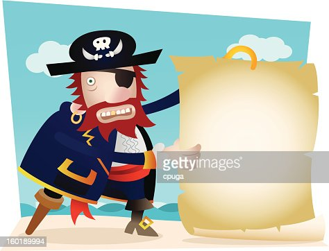 Pirate with Blank Map : Vectorkunst
