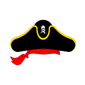Pirates cap isolated. Hat buccaneer. Bones and skull. Corsair Accessory