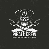 Pirates crew . Jolly Roger - skull with crossed sabers on a black background. Grunge texture on separate layers and can be easily disabled.