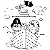 Pirate boys and a parrot sailing on a ship. Vector black and white coloring book page